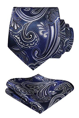 HISDERN Men's Paisley Floral Tie Handkerchief Wedding Silk Woven Classic Men's Neckt ...