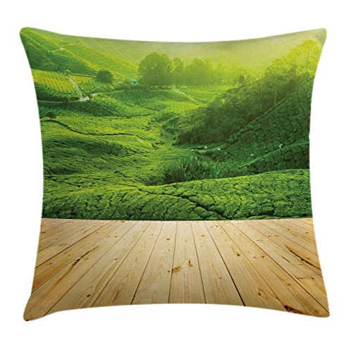 Rustic Throw Pillow Cushion Cover by Lunarable, Highlands Tea Plantations from Wood Balcony Perspective Sunrise in Eary Morning with Fog, Decorative Square Accent Pillow Case, 36 X 36 Inches, Green