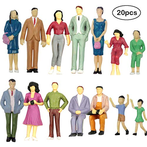 20PCs Tiny People Figures, Gdaya 1:25 Scale Model Train People Hand Painted Model Trains Architectural G Scale Sitting and Standing Miniatures Figures for Miniature Scenes (Best G Scale Trains)