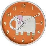 DecoMates Non-Ticking Silent Wall Clock, White Elephant Orange