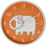 DecoMates Non-Ticking Silent Wall Clock, White Elephant Orange