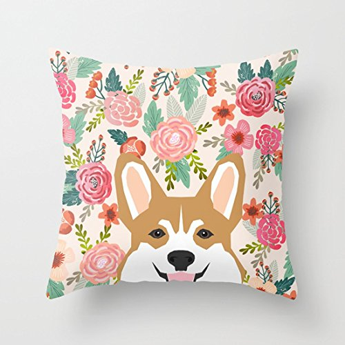UOOPOO Welsh Corgi Cute Flowers Spring Summer Garden Dog Portrait Cute Corgi Puppy Funny God Illustrations Cotton Canvas Pillow Case 18 x 18 Inches Square Cushion Cover One Side