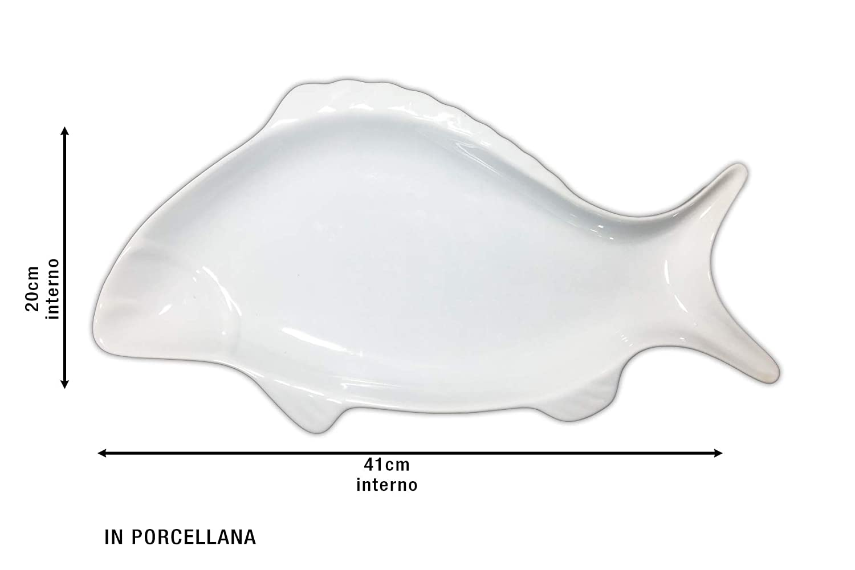 Vassoio di Porcellana Forma Pesce CM.42X21