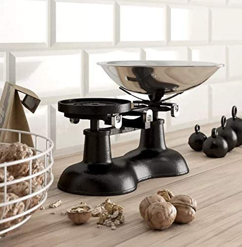 Báscula de cocina antigua, color negro con pala de cromo: Amazon ...