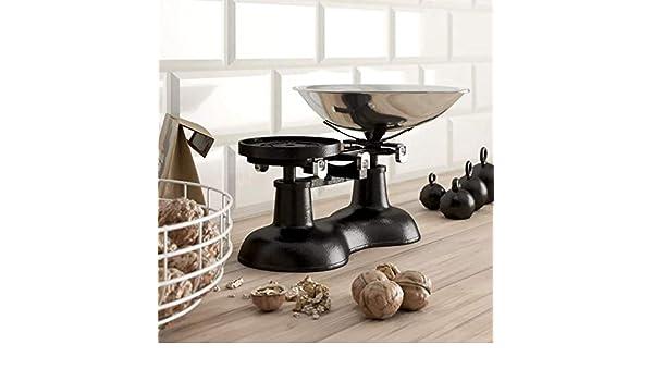 Báscula de cocina antigua, color negro con pala de cromo: Amazon.es: Hogar