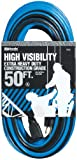 Woods 2443 12/3 SJTW High Visibility Outdoor Extension Cord, Blue/Black, 50-Feet