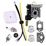 Podoy SRM210 Carburetor for Echo Trimmer Parts PE200 Carb Fuel Line Kit Tune Up Primer Bulb Grommet Weed Eater GT200 SRM 210 PE 200 HC150 SRM211 GT200