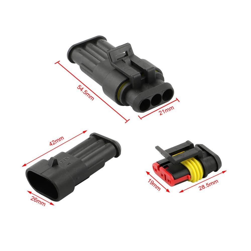 PA66 Nylon Impermeabile Connettore Isolato e Sigillato per Auto Camion Marina Moto FULARR/® 12 Kit Professionale 3 Pin Auto Impermeabile Elettrico Connettore Spina Set