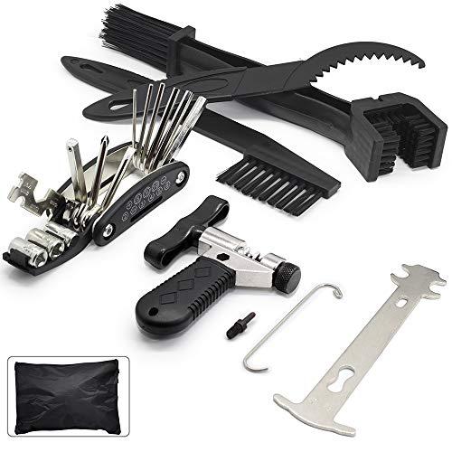 Bike Chain Tool Set - Bike Chain Breaker Splitter with Chain Hook|16 in 1 Multi-Function Repair Tool|Chain Wear Indicator Checker|Gear Chain Cleaner Brush Kit - Universal Cycling Kit