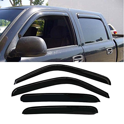 Mifeier 4pc Sun/Rain Guard Vent Shade Window Visor For Chevy/GMC/Cadillac Crew Cab (With 4 Full Size Doors) PU/SUV Wind Deflector Cab Vent Visor