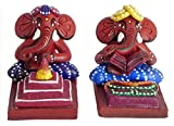 DollsofIndia Set of 2 Ganesha - Terracotta Statues - 3 x 3 x 2.5 inches Each (EH76)