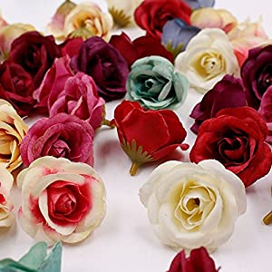 Artificial Flowers Fake Flower Heads in Bulk Wholesale for Craft Silk Rose Wedding Home Furnishings DIY Party Festival Home Decor Wreath Sheets Handicrafts Simulation Cheap Fake Flowers 30pcs 4cm 53