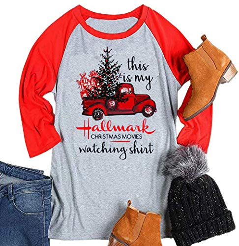This is My Hallmark Christmas Movie Watching Shirts Women Funny Red Truck Christmas Tree Cute 3/4 Sleeve Tee Tops Blouse (Medium,Grey) ()