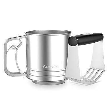 Asmork Stainless Steel Flour Sifter for Baking, Dough Blender with Ergonomic Rubber Grip, Professional Baking Dough Tools
