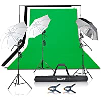 Emart 1500W Photography Studio Video Lighting Kit, Photo Continuous Umbrella Lighting, 10 ft Support System and Muslin Backdrop (Black White Green)