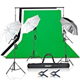 Emart 1500W Umbrella Continuous Lighting Kit with 10ft Background Support System for Photo Studio Product, Portrait and Video Shoot Photography