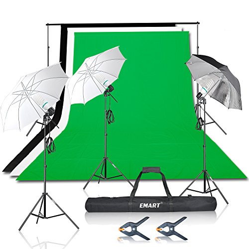 Emart 1500W Umbrella Continuous Lighting Kit with 10ft Background Support System for Photo Studio Product, Portrait and Video Shoot Photography by EMART