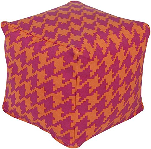 Surya PHPF006-181818 100-Percent Cotton Pouf, 18-Inch by 18-Inch by 18-Inch, Hot Pink/Tangerine