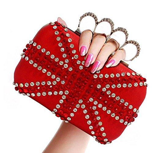 TrendStar - Cartera de mano mujer A - Red Clutch