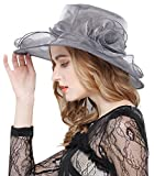Lovful Womens Kentucky Sun Hat Flower Fascinator Wide Brim Tea Party Wedding Gauze Hat, Gray