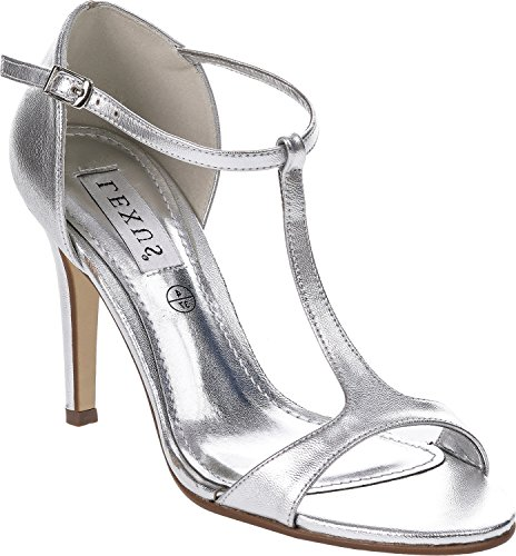 LEXUS Ladies Open Toe Patent Sandals T Bar and Side Buckle Silver