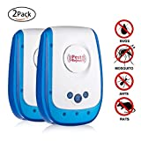 Pest Repeller Ultrasonic Control Repellent,Electronic Plug In Pest Repeller, Repellent For Mice,Mosquitoes, Cockroaches, Ants, Rodents, Flies, Bugs, Spiders, Humans & Pets Safe (2 pack)