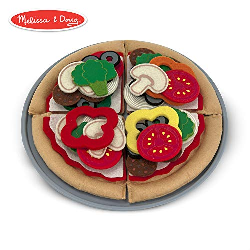 Melissa & Doug Felt Play Food Pizza Set (Pretend Play, Easy to Clean, Includes Play Ideas, 42 Durable Pieces)