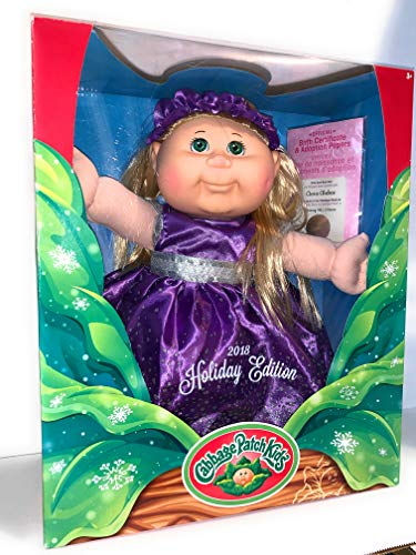 Cabbage Patch Doll - 2018 Holiday Edition - Blonde Hair Green Eyes, Purple Dress, 14 (Baby With Blonde Hair And Green Eye)
