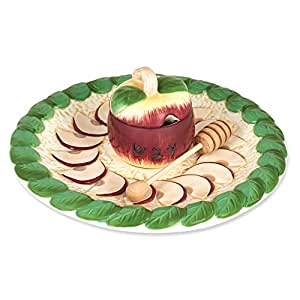 Rosh Hashanah Honey Dish - Hand Painted Apple Designed Plate and Bowl, Includes Wooden Dipper by Aviv Judaica