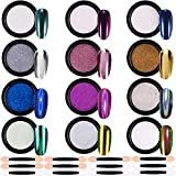 Duufin 12 Colors Chrome Nail Powder Mirror Effect Nail Art Powder Holographic Powder Laser Manicure Powder Aurora Iridescent Pearl Chameleon Nail Powder with 12 Pcs Eyeshadow Sticks