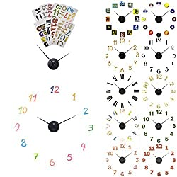 2 Pack Sterling Noble Decorative DIY Wall Clock Kits Number Stickers Black Hands Part Art Decor Decals