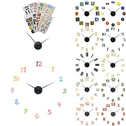 (2 Pack Sterling Noble Decorative DIY Wall Clock Kits Number Stickers Black Hands Part Art Decor Decals)