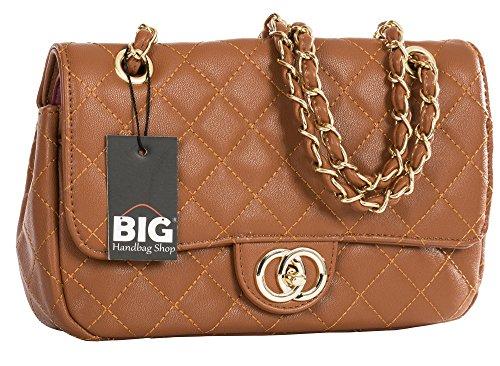 Big Handbag Shop Womens Quilted Twist Lock Shoulder Clutch Party Wedding Purse Bag (Small D2) Tan - Round Clasp