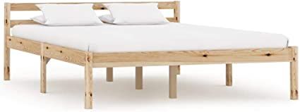 vidaXL Madera Maciza Pino Estructura Cama Somier Mobiliario Hogar Dormitorio Interior Elegante Práctica Moderna Duradera Resistente Robusta 140x200cm