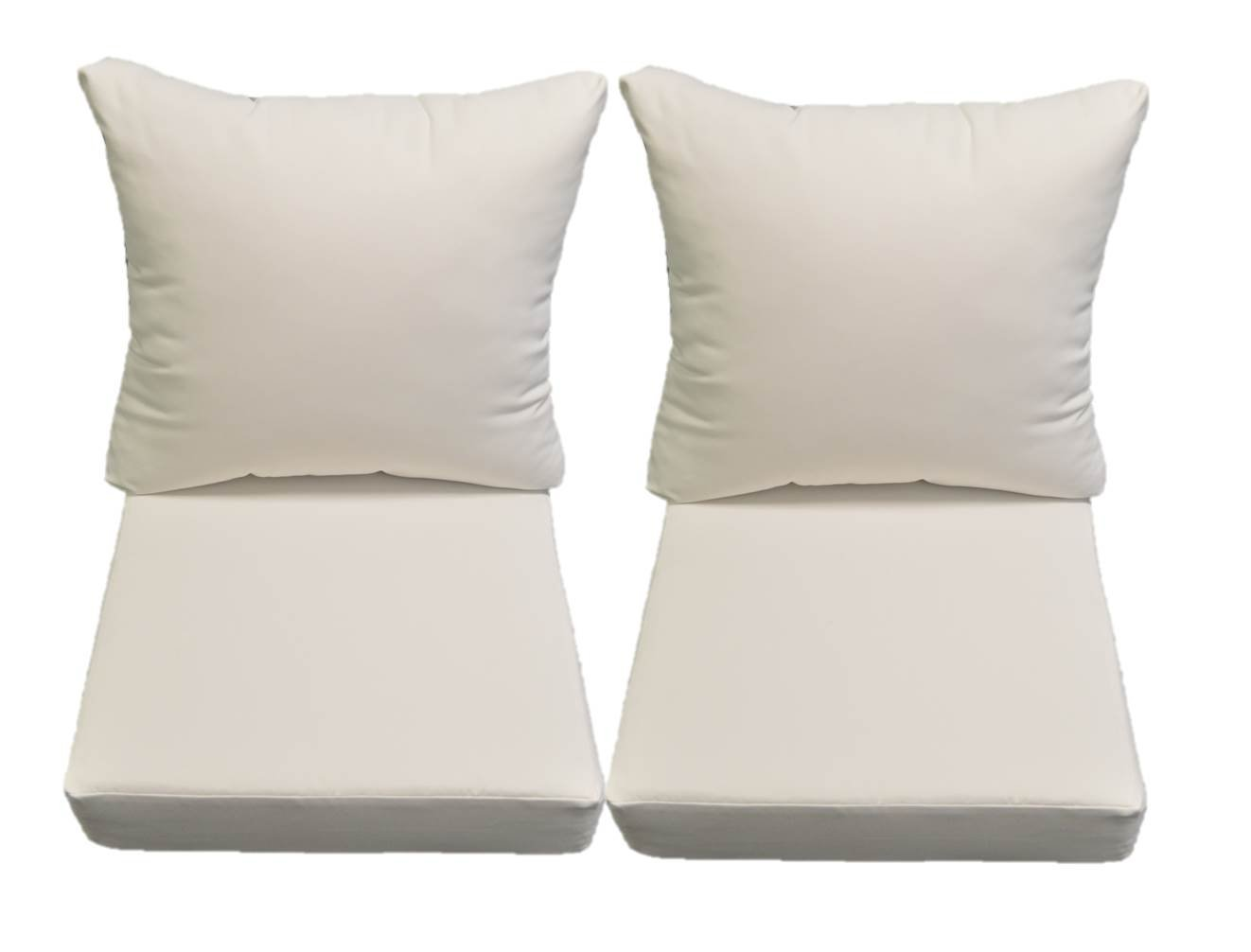 Resort Spa Home Decor Sunbrella Canvas White Cushion Sets for Patio Outdoor Deep Seating Furniture Loveseat – Choice of Size 24 w X 27 d