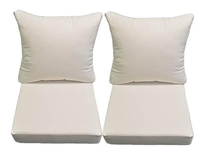 Amazon Com Sunbrella Canvas White Cushion Sets For Patio Outdoor