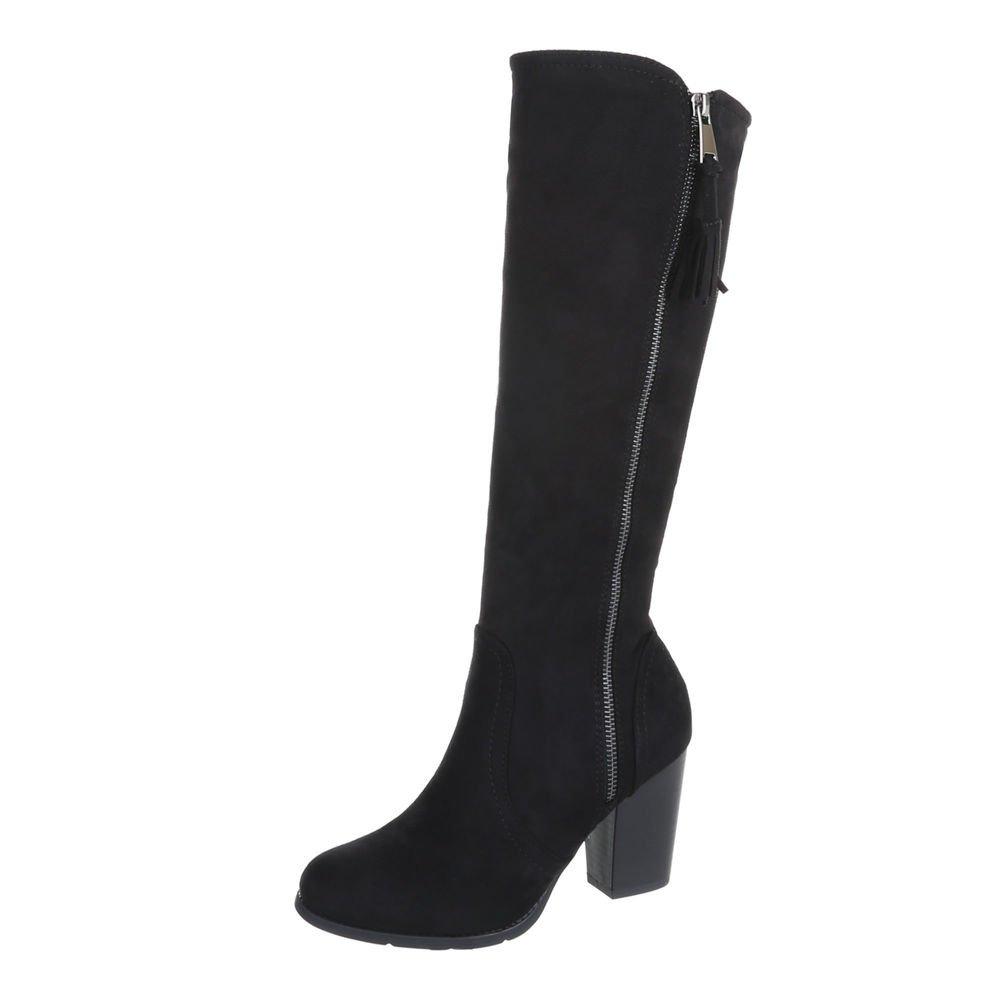 Ital-Design High Heel Stiefel Damenschuhe High Heel Stiefel Pump High Heels Reißverschluss Stiefel  41 EU|Schwarz 158-GG
