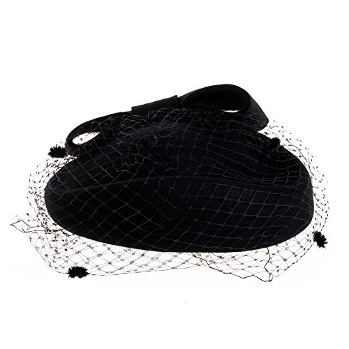 4ffd5e67de7 Vbiger Women s Fascinator Woolen Felt Pillbox Hat Cocktail Party Wedding  Bow Veil (Black)