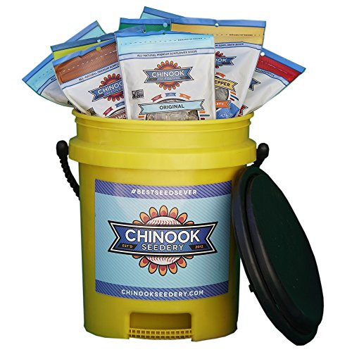 Chinook Seedery Five Gallon Team Bucket with Swivel Seat Filled With 12 - 4.7 oz Bags of Sunflower Seeds, Variety Pack - Giant Sunflower Seeds Original