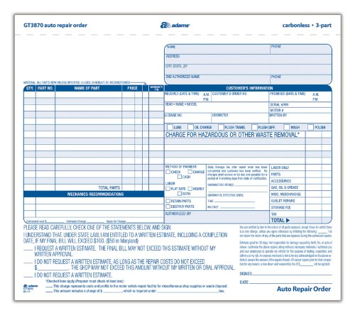 Amazon.com : Adams Auto Repair Order Forms, 8.5 x 7.44 Inch, 3 ...