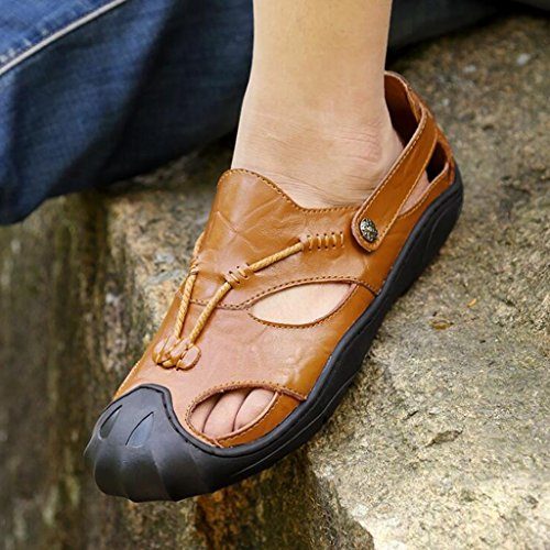 Sandali Casual Sandali Brown KAI Uomo da Shoes LE Leather Baotou LE Shoes Outdoor pCUxw6AqE