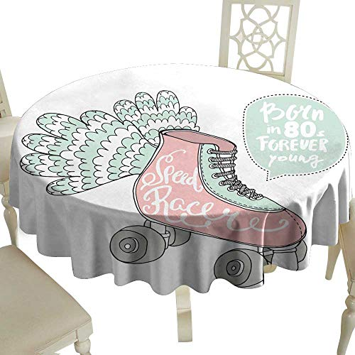 WinfreyDecor Decorative Textured Fabric Tablecloth Hand Drawn Illustration with Retro Rollers Speed Racer Handwritten Text Great for Buffet Table D71
