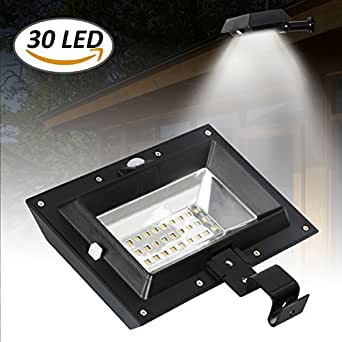 [1 Pack] 30 LED PIR Motion Sensor Solar Lights,T-SUNRISE Solar Gutter Lights,Waterproof Security Lamp for Outside Garage Door,Wall,Stairs Anywhere Safety Lite with Bracket (6000K-Black)