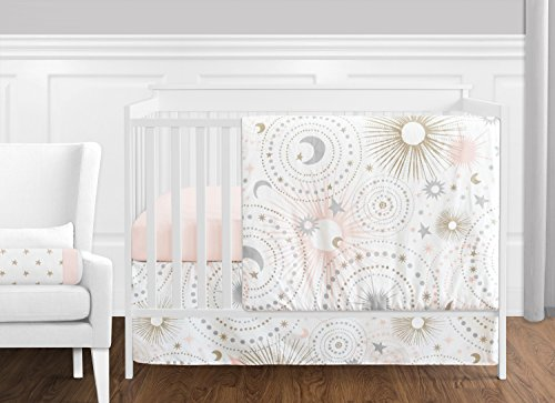 - 11 pc. Blush Pink, Gold, Grey and White Star and Moon Celestial Baby Girl Crib Bedding Set Without Bumper by Sweet Jojo Designs