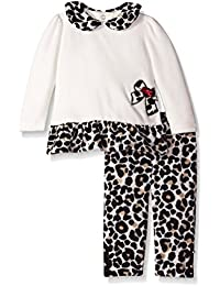 Baby-Girls Cotton Velour Tunic with Animal Print Legging