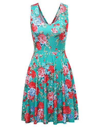 FSOOG Womens Open Back Casual Fit and Flare Floral Sleeveless Dress (M, Red Rose-MINT) (Dress Floral Rose)