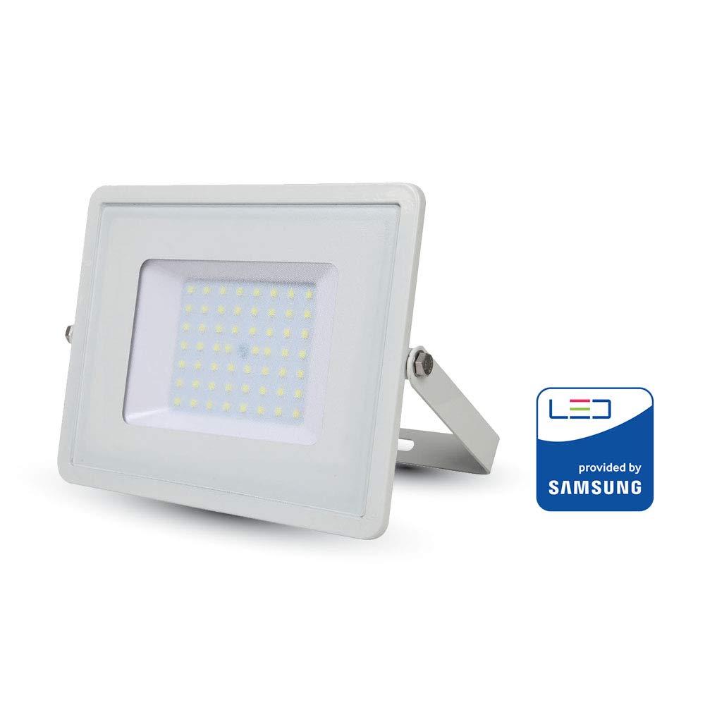 Wei/ßes Glas IP65 4000K Tageswei/ß 800 Lumen V-TAC 10W Wasserfester Fluter Outdoor Au/ßenstrahler LED-strahler Wei/ßes Geh/äuse Energieklasse A+