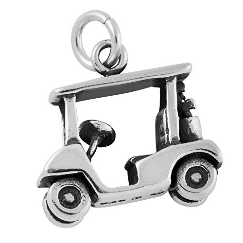 Sterling Silver Antiqued 3D Golf Cart Charm Pendant (14.5 x 15 mm)