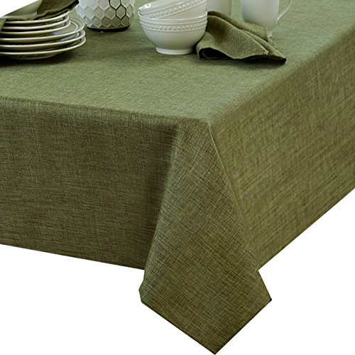 Penington Solid Woven No-Iron Soil Resistant Fabric Tablecloth - 60 X 84 Oblong - Green (Oblong Tablecloth)