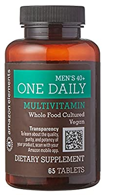 Amazon Elements Men's 40+ One Daily Multivitamin, 67% Whole Food Cultured, Vegan, 65 Tablets